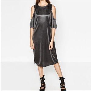 Zara Sheen Cold Shoulder Dress